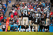 November 13, 2016: Carolina Panthers vs Kansas City Chiefs. Panthers offensive huddle led by Cam Newton