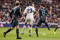 Real Madrid's Danilo Luiz Da Silva and Real Sociedad's Juanmi Jimenez and Willian Jose da Silva during La Liga match between Real Madrid and Real Sociedad at Santiago Bernabeu Stadium in Madrid, Spain. January 29, 2017. (ALTERPHOTOS/BorjaB.Hojas)