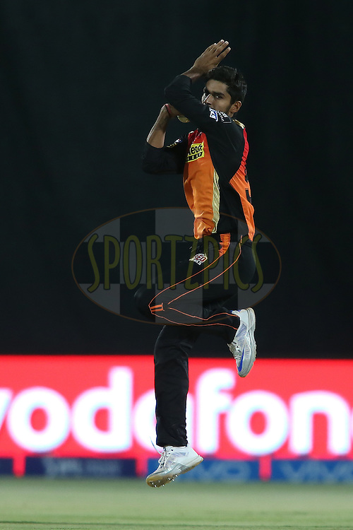 Deepak Hooda of Sunrisers Hyderabad sends down a delivery during match 15 of the Vivo IPL 2016 (Indian Premier League) between the Gujarat Lions and the Sunrisers Hyderabad held at Saurashtra Cricket Association Stadium, Rajkot, India on the 21st April 2016<br /> <br /> Photo by Shaun Rsoy  / IPL/ SPORTZPICS