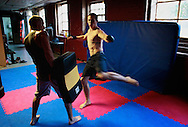 Tom trains with Jeff Atkinson, his brother-in-law, at Chiles Martial Arts Studio. Jeff just began training, but has not yet entered the cage.
