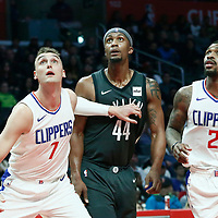 04 March 2018: Brooklyn Nets forward Dante Cunningham (44) vies for the rebound with LA Clippers forward Sam Dekker (7) and LA Clippers Sean Kilpatrick during the LA Clippers 123-120 victory over the Brooklyn Nets, at the Staples Center, Los Angeles, California, USA.