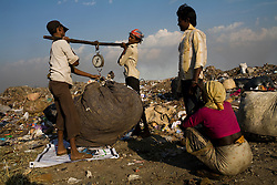 Workers at a local garbage dump  scavenge for trash that they can sell.  Local NGOs say that there is a huge problem with TB among the workers in the dumping ground, as well as the families that live near it, owing it poor nutrition and hygiene, which can make them more susceptible to developing active TB.