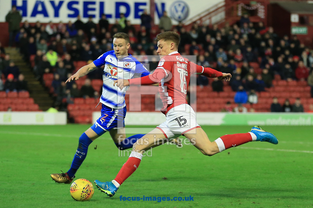 Harvey Barnes of Barnsley crosses the ball into the box during the Sky Bet Championship match at Oakwell, Barnsley<br /> Picture by Mark Cosgrove/Focus Images Ltd 07482 239581?<br /> 30/12/2017
