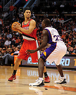 Dec. 10 2010; Phoenix, AZ, USA; Portland Trailblazers guard Brandon Roy (7) reacts on the court against the Phoenix Suns guard Jason Richardson (23) at the US Airways Center. The Trailblazers defeated the Suns 101-94. Mandatory Credit: Jennifer Stewart-US PRESSWIRE..