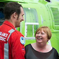 SCAA...Scotland's Charity Air Ambulance Paramedics re-united with first casualty....26.06.13<br /> 59 year old Patricia MacKenzie from Thornliebank in Glasgow visited the base of Helimed 76 in perth today to thank the two paramedics John Pritchard and Wayne Auton who airlifted Patricia to hospital after her accident near Cairndow in Argyll five weeks ago. Patricia is pictured with Wayne Auton.<br /> Picture by Graeme Hart.<br /> Copyright Perthshire Picture Agency<br /> Tel: 01738 623350  Mobile: 07990 594431