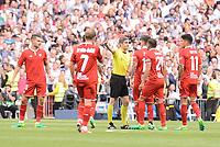 "Sevilla FC Victor ""Vitolo"" Machin, Michael Krohn-Dehli, Carlos Joaquin Correa and Mercado protesting to the referee during La Liga match between Real Madrid and Sevilla FC at Santiago Bernabeu Stadium in Madrid, May 14, 2017. Spain.<br /> (ALTERPHOTOS/BorjaB.Hojas)"