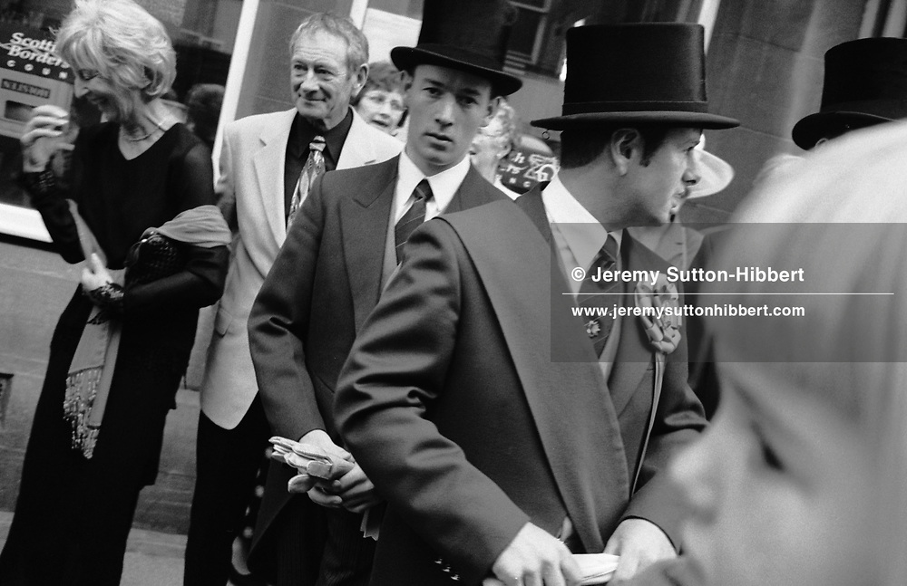 """The 'Cornet' Bruce Richardson, stands 4th from left, with his helpers- his """"right hand man' and 'left hand man', in top hats, during Hawick Common Riding week. Scotland..PIC©JEREMY SUTTON-HIBBERT 2000.."""