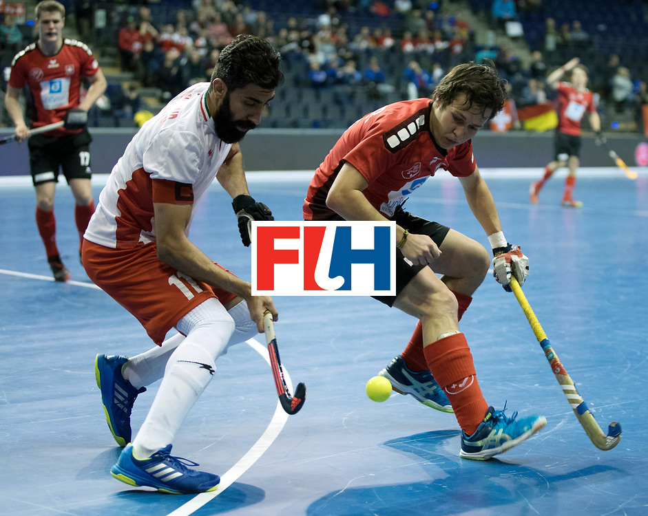 BERLIN - Indoor Hockey World Cup<br /> Men: Iran - Switzerland<br /> foto: GASSNER Lorenz and NOROUZZADEH Reza.<br /> COPYRIGHT WILLEM VERNES