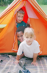 Multiracial group of children playing in tent,