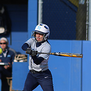 Saint Peter's College Outfielder Stephanie Gilronan (3) attempts to connects with ball in the first inning of a NCAA Non Conference Regular season game between The University Of Delaware and The Peacocks of Saint Peter's Wednesday, April 23, 2014, at UD Softball Stadium in Newark Delaware.