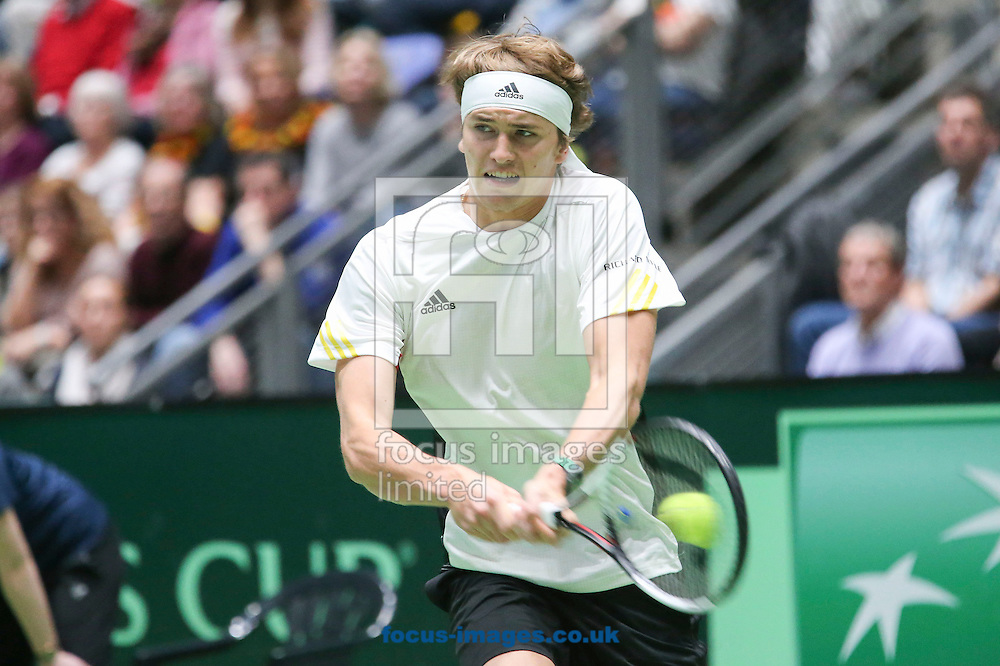 Alexander Zverev of Germany during the world group first round 2017 Davis Cup match between Germany and Belgium in the Fraport Arena, Frankfurt, Germany.<br /> Picture by EXPA Pictures/Focus Images Ltd 07814482222<br /> 05/02/2017<br /> *** UK &amp; IRELAND ONLY ***<br /> <br /> EXPA-EIB-170205-0218.jpg