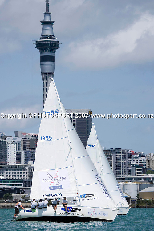 Adam Minoprio leads James Spithall during day 2 of the Auckland Match Racing Championships held on Auckland Harbour, New Zealand, on Thursday 25 January 2007. Photo: Gareth Cooke/PHOTOSPORT  <br /> <br /> <br /> <br /> 250107
