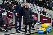 West Ham Manager Slaven Bilic and Jose Mourinho Manager of Manchester United Manager during the Premier League match between West Ham United and Manchester United at the Stadium Queen Elizabeth Olympic Park, London, United Kingdom on 2 January 2017. Photo by Phil Duncan.