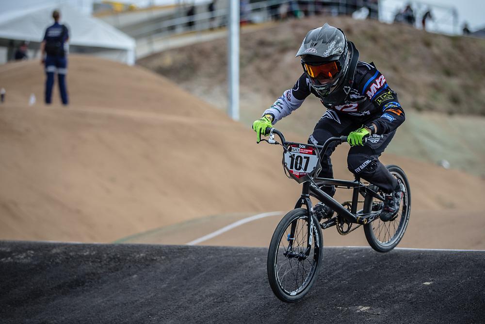 #107 (ROKOV Annaliese) AUS at Round 3 of the 2020 UCI BMX Supercross World Cup in Bathurst, Australia.