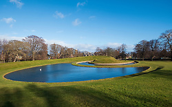 Exterior view of The Landform landscaped park with pond at Scottish National Gallery of Modern Art - One, in Edinburgh, Scotland, UK