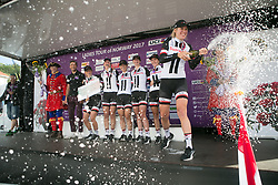 Team Sunweb celebrates winning the best team title after Stage 3 of the Ladies Tour of Norway - a 156.6 km road race, between Svinesund (SE) and Halden on August 20, 2017, in Ostfold, Norway. (Photo by Balint Hamvas/Velofocus.com)