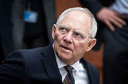 Wolfgang Schauble, German Federal Minister of Finance during an emergency Eurogroup finance ministers meeting at the European Council in Brussels, Belgium on 20.02.2015 Eurogroup head Jeroen Dijsselbloem was working overtime on February 20 to save a make-or-break meeting on Greece's demand to ease its bailout programme as Germany insisted it stick with its austerity commitments after days of sharp exchanges, the 19 eurozone finance ministers gathered for the third time in little over a week to consider Athens' take-it or leave-it proposal to extend an EU loan programme which expires this month. by Wiktor Dabkowski. EXPA Pictures © 2015, PhotoCredit: EXPA/ Photoshot/ Wiktor Dabkowski<br /> <br /> *****ATTENTION - for AUT, SLO, CRO, SRB, BIH, MAZ only*****