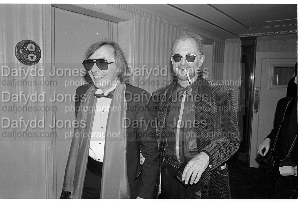 PHIL SPECTOR; ANDREW OLDHAM, Rock and Roll Hall of Fame, Waldorf Astoria, New York. 16 January 1991,<br /> <br /> SUPPLIED FOR ONE-TIME USE ONLY> DO NOT ARCHIVE. © Copyright Photograph by Dafydd Jones 248 Clapham Rd.  London SW90PZ Tel 020 7820 0771 www.dafjones.com