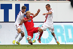24.09.2014, Voith Arena, Heidenheim, GER, 2. FBL, 1. FC Heidenheim vs 1. FC Nuernberg, 7. Runde, im Bild Niklas Stark ( 1.FC Nuernberg ) Sebastian Griesbeck (1.FC Heidenheim) rechts Manuel Bihr ( 1.FC Nuernberg ) // during the 2nd German Bundesliga 7th round match between 1. FC Heidenheim and 1. FC Nuernberg at the Voith Arena in Heidenheim, Germany on 2014/09/24. EXPA Pictures © 2014, PhotoCredit: EXPA/ Eibner-Pressefoto/ Langer<br /> <br /> *****ATTENTION - OUT of GER*****