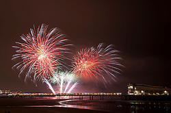 "© Licensed to London News Pictures. 15/11/2014. Weston-super-Mare, North Somerset, UK.  ""Fireworks at Sea"" fireworks display by the Grand Pier on Weston-super-Mare beachfront. Photo credit : Simon Chapman/LNP"