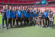 Forest Green Rovers players pose for a group photo on their Wembley Stadium familiarisation trip during the Vanarama National League Play Off Final match between Tranmere Rovers and Forest Green Rovers at Wembley Stadium, London, England on 14 May 2017. Photo by Shane Healey.