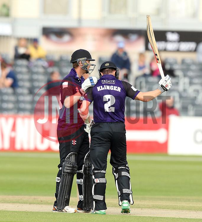 Gloucestershire's Michael Klinger raises his bat on completing his 50 - Photo mandatory by-line: Robbie Stephenson/JMP - Mobile: 07966 386802 - 26/06/2015 - SPORT - Cricket - Bristol - The County Ground - Gloucestershire v Sussex - Natwest T20 Blast