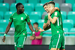 Rok Kronaveter and Nik Kapun of Olimpija celebrate during football match between NK Olimpija Ljubljana and NK Celje in 3rd Round of Prva liga Telekom Slovenije 2018/19, on Avgust 05, 2018 in SRC Stozice, Ljubljana, Slovenia. Photo by Vid Ponikvar / Sportida
