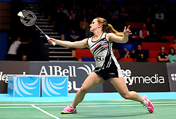 Jess Hopton of Bristol Jets during the women's doubles - Photo mandatory by-line: Robbie Stephenson/JMP - 07/11/2016 - BADMINTON - University of Derby - Derby, England - Team Derby v Bristol Jets - AJ Bell National Badminton League