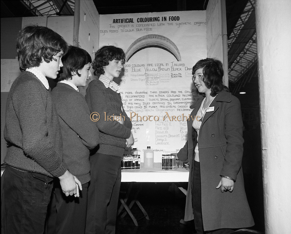 Young Scientist Of The Year..1974..04.01.1974..01.04.1974..4th January 1974..The Aer Lingus sponsored Young Scientist of the Year exhibition was held in the RDS,Dublin.Students from schools all around the country took part in the event..Pictured at the exhibition were david O'Reilly, CBC,Cork, who did a project on coastal pollution caused by plastics around Cork harbour, Gerard Mullins and Gerald Power, Glasheen Secondry School,Cork, who did a project on the construction and operation of a distillery in a science laboratory and Jennifer Duggan,Mount Mercy School,Bishopstown,Cork whose project was a survey to isolate and identify the coloured chemicals added to foodstuffs.