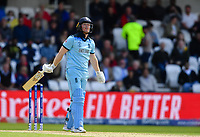 Cricket - 2019 ICC Cricket World Cup - Group Stage: England vs. Sri Lanka<br /> <br /> England's Eoin Morgan dejected as he is caught and bowled by Sri Lanka's Isuru Udana for 21, at Headingley, Leeds<br /> <br /> COLORSPORT/ASHLEY WESTERN
