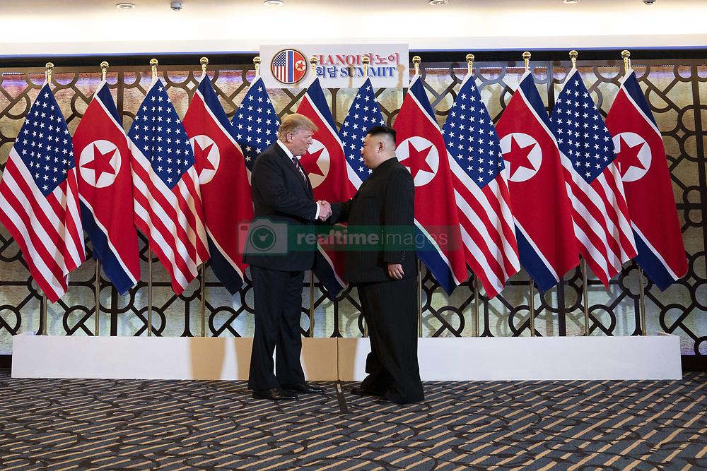 February 27, 2019 - Hanoi, Vietnam - U.S President Donald Trump and North Korean leader Kim Jong Un greet prior to a bilateral meeting at the Sofitel Legend Metropole hotel February 27, 2019 in Hanoi, Vietnam. (Credit Image: © Shealah Craighead via ZUMA Wire)