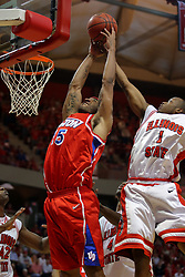 24 March 2008:  Emmanuel Holloway denies the rebound to Charles Little. The Flyers of Dayton defeated the Redbirds of Illinois State 55-48 on Doug Collins Court inside Redbird Arena in Normal Illinois.
