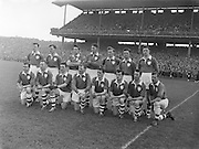 All Ireland Senior Football Championship Final, Louth v Cork .22.09.1957, 09.22.1957, 22st September 1957, Louth 1-09 Cork 1-07, 22091957AISFCF,..Louth Team, .Back row (from left) <br /> Dermot O'Brien, Jim McDonnell, Ollie Reilly, Tom Conlon, Seamie O'Donnell, Sean Óg Flood, Don O'Neill,<br /> <br /> Front row (from left) Kevin Beahan, Stephan White, Frank Lynch, Peader Smith, Sean Cunningham, Patsy Coleman, Jim Roe, Jim Meehan.<br /> (Not in this Photo)<br /> Jim McArdie, Jackie Reynolds, Jim Judge, Alf Monk, Barney McCoy, Mickey Flood, Aidan McGuiness, Jim Quigley.