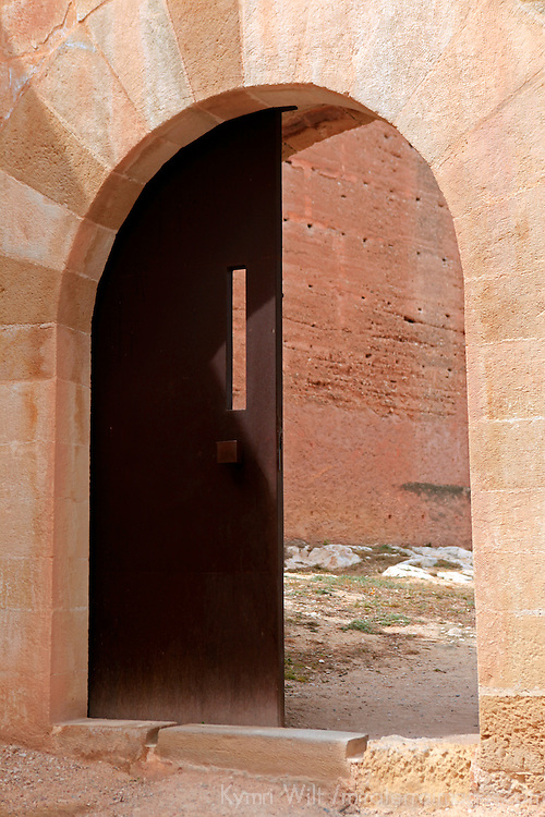 Europe, Spain, Novelda. Entry to Mola Castle, a national monument of Spain.