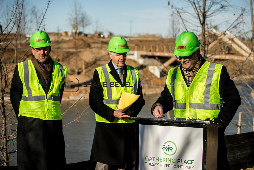 1/12/18 11:06:02 AM -- Halliburton CEO Jeff Miller and George Kaiser visit the Gathering Place for a press conference announcing Halliburton's support for the park. <br /> <br /> Photo by Shane Bevel