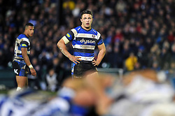 Sam Burgess of Bath Rugby watches a scrum - Photo mandatory by-line: Patrick Khachfe/JMP - Mobile: 07966 386802 12/12/2014 - SPORT - RUGBY UNION - Bath - The Recreation Ground - Bath Rugby v Montpellier - European Rugby Champions Cup