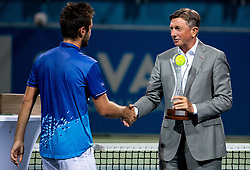 Runner up Viktor Durasovic of Norway and Borut Pahor, president of Slovenia at Trophy ceremony after the Final match at Day 10 of ATP Challenger Zavarovalnica Sava Slovenia Open 2019, on August 18, 2019 in Sports centre, Portoroz/Portorose, Slovenia. Photo by Vid Ponikvar / Sportida