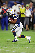 Los Angeles Chargers running back Austin Ekeler (3) runs the ball during the 2017 NFL week 1 preseason football game against the Seattle Seahawks, Sunday, Aug. 13, 2017 in Carson, Calif. The Seahawks won the game 48-17. (©Paul Anthony Spinelli)