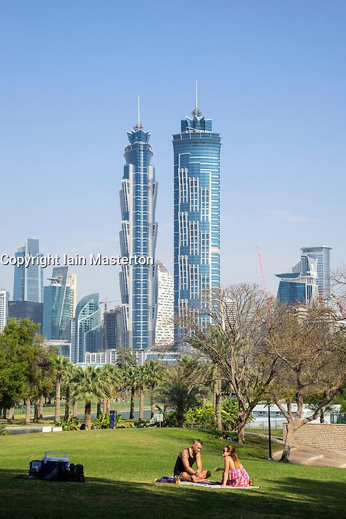 Al Safa Park and JW Marriott Marquis Towers in Dubai United Arab Emirates