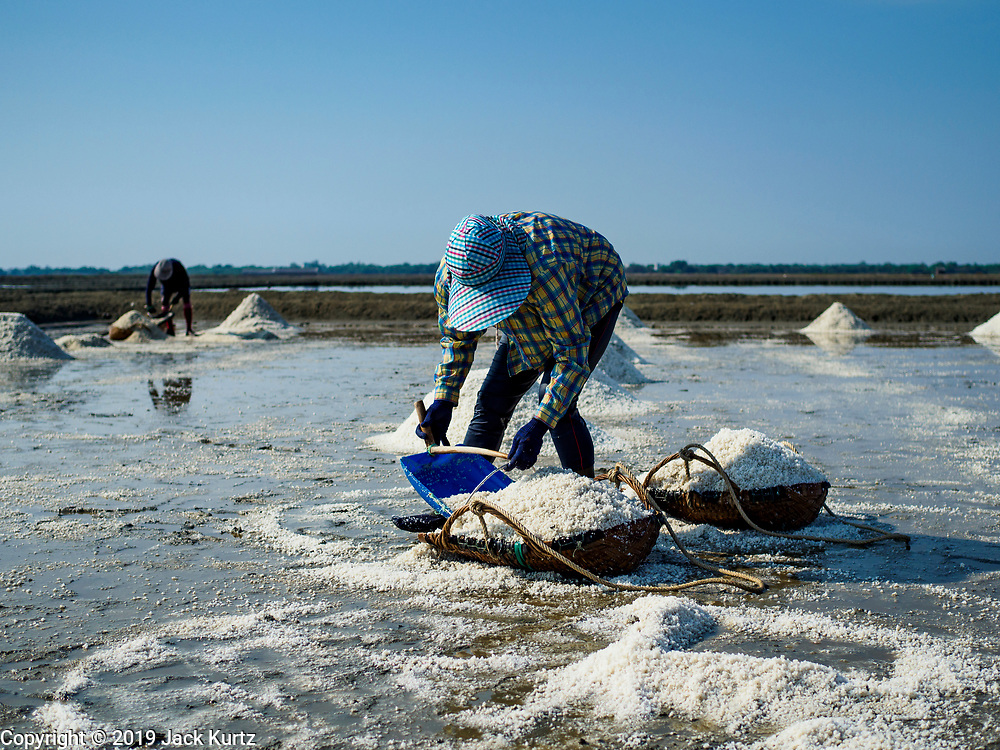 20 FEBRUARY 2019 - BAN LAEM, PHETCHABURI, THAILAND: A salt worker rakes salt into her baskets on one of the first days of the 2019 salt harvest in Ban Laem, Thailand. Ban Laem's salt fields are expanding because salt harvesters in Samut Sakhon and Samut Songkhram,  which are closer to Bangkok, are moving to Ban Laem as their land is turned into industrial parks.      PHOTO BY JACK KURTZ