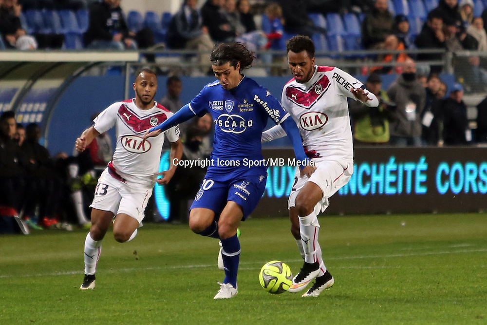 Francois Joseph MODESTO  / Isaac Kiese THELIN   - 24.01.2015 - Bastia / Bordeaux  - 22eme journee de Ligue1<br /> Photo : Michel Maestracci / Icon Sport *** Local Caption ***