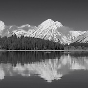 Grand Tetons - North Jackson Lake, WY - Panoramic - Black & White