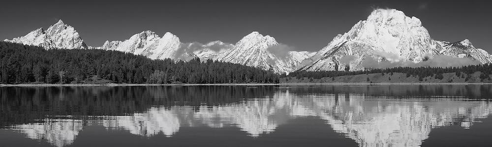 Grand Tetons - North Jackson Lake, WY - Panoramic - Black & White