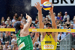 13.07.2014, Beach Village, Gstaad, SUI, FIVB Beach Volleyball Grand Slam Gstaad, im Bild Sean Rosenthal (USA) gegen Alison Cerutti (BRA) // during the FIVB Beach Volleyball Grand Slam Gstaad at the Beach Village in Gstaad, Switzerland on 2014/07/13. EXPA Pictures © 2014, PhotoCredit: EXPA/ Freshfocus/ Claude Diderich<br /> <br /> *****ATTENTION - for AUT, SLO, CRO, SRB, BIH, MAZ only*****
