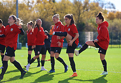 NEWPORT, WALES - Tuesday, November 6, 2018: Wales' Ffion Morgan and Angharad James during a training session at Dragon Park ahead of two games against Portugal. (Pic by Paul Greenwood/Propaganda)