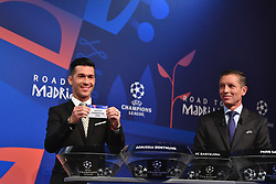 NYON, SWITZERLAND - Monday, December 17, 2018: Former Liverpool player and Champions League winner Luis Garcia holds up Juventus after making the draw during the UEFA Champions League 2018/19 Round of 16 draw at the UEFA House of European Football. (Handout by UEFA)