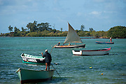 Fishing boats coming in. near Mahebourg.
