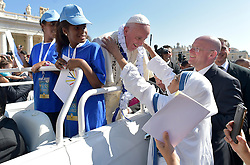 Pope Francis marked the Jubilee of Volunteer Workers included nuns of the Missionary of Charity, the Religious family founded by Mother Teresa by presiding over celebrations in St Peter's Square et the Vatican the latest event in the Holy Year of Mercy on September 3,2016. He encouraged volunteers in their solidarity towards others, especially in a world tempted by indifference.The Holy Father concluded by citing the example of mercy shown by Blessed Mother Teresa, who he will canonize the day after at the Vatican. Photo by ABACAPRESS.COM