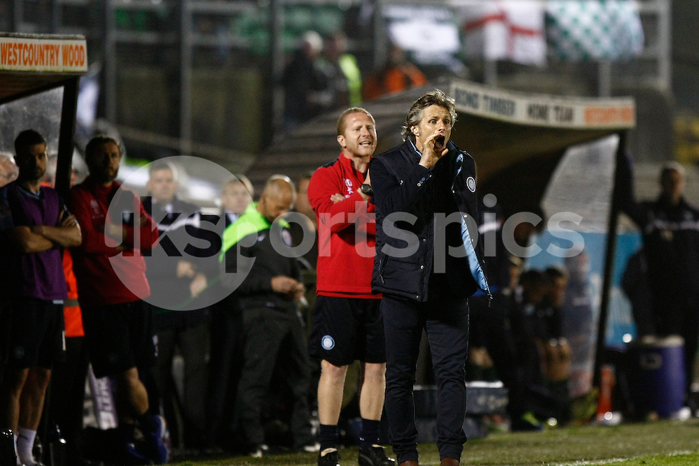 Wycombe Wanderers manager Gareth Ainsworth and his staff during the Sky Bet League 2 Play Off 1st Leg match between Plymouth Argyle and Wycombe Wanderers at Home Park, Plymouth, England on 9 May 2015. Photo by Mark Hawkins.