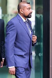 PC Avi Maharaj, 44, leaves Westminster Magistrates Court after being referred to Crown Court for sentencing after pleading guilty to one count of fraud relating to use of a member of the public's cable television account to purchase porn as he guarded the body of a deceased teenager , awaiting the arrival of undertakers. London, August 06 2019.